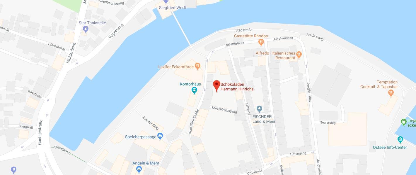 Anfahrt zur Bonbonkocherei in Eckernförde